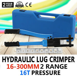 16 Ton Hydraulic Wire Terminal Crimper Set Lug Plier Heavy Duty Terrific Value