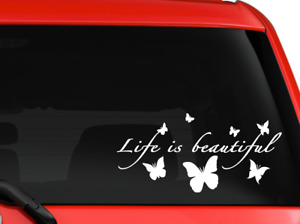 Life Is Beautiful Butterflies Nice Design Car Truck Decal Sticker 8 White