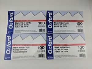 Oxford Blank Index Cards 5 X 8 White 100 pack Lot Of 4 400 Cards Total