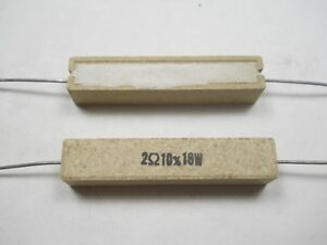 2 0 Ohm 10 Watt 10 Wire Wound Power Resistor nos New Old Stock qty 10 Ea d4