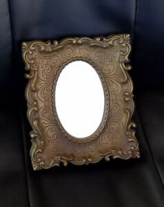 Antique Wall Mirror Oval With Square Gold Plastic Frame 8 X 9