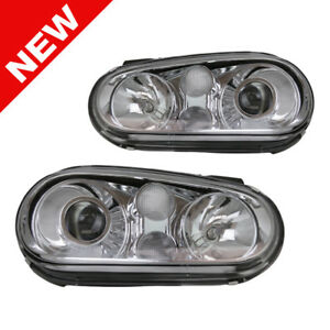 99 05 Vw Golf Mk4 Ecode Chrome Projector Glass Lens Headlights Clear Signal