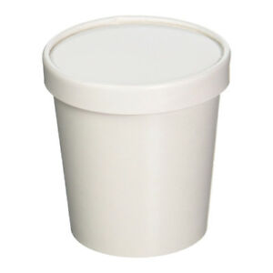 16 32oz White Paper Pint Quart Ice Cream Togo Packaging Container Cup W Lid