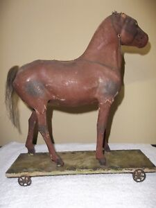 Antique Folk Art Pull Toy Horse Painted Tin Spoke Wheels All Original