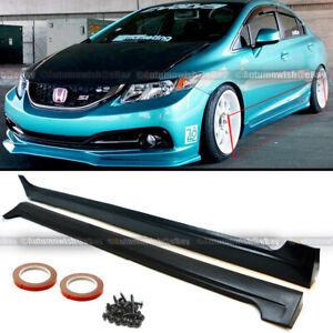 Fit 12 15 Civic 4dr Jdm Mod Md Style Side Skirt Rocker Panels Body Kit Extension
