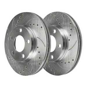Rear Drilled Slotted Brake Rotor Pair For 2005 2013 2014 Ford Mustang Silver