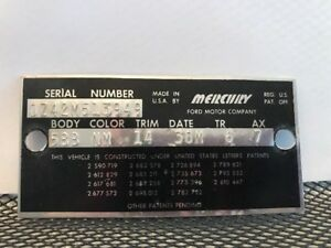 60 1960 Mercury Cowl Data Body Plate Trim Code Tag