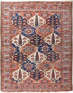 Genuine Hand Knotted Authentic Antique Area Rug Garden Panel 5 X 6 3