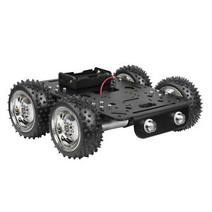 4wd Obstacles Crossing Robot Smart Car Chassis Kit Off road Rubber Tire