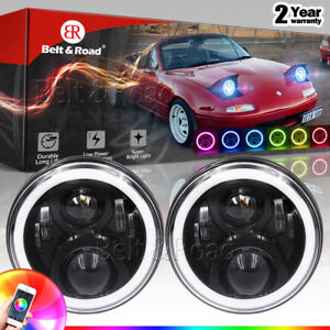 H4 Led Headlight With Color Changing Halos For 1990 1997 Mazda Miata Mx5