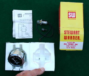 Vtg Stewart Warner 100 270 Oil Temperature Gauge Electrical Nos In Box 1970 S