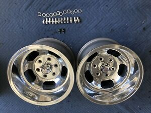 Pair 2 Polished 15x10 6 lug Us Indy Style Slot Mag Wheels Chevy Datsun Gasser