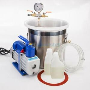 2 Gallons Vacuum Chamber Silicone Expoxy Degassing With 5cfm 1 3hp Vacuum Pump