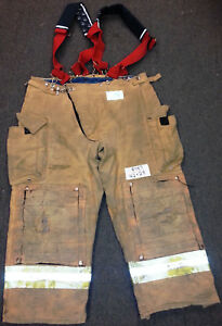 42x28 Pants Firefighter Turnout Bunker Fire Gear Morning Pride Suspenders P787