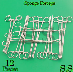 12 Sponge Forceps Curved 10 Surgical Instruments