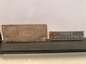 61 1961 Buick Lesabre Cowl Data Body Plate Paint Trim Code Tag