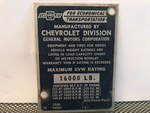56 1956 Chevy Truck Cowl Data Body Plate Paint Trim Code Tag