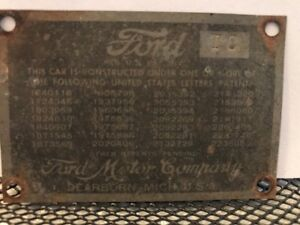 46 1946 Ford 2 Door Cowl Data Body Plate Paint Trim Code Tag