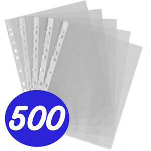 500 X A4 Clear Plastic Punched Punch Pockets Folders Pockets Wallets Sleeves
