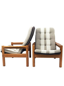 Mid Century High Back Danish Lounge Chairs By Domino Mobler A Pair