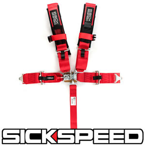 Red Sfi Approved 5 Point Racing Harness Shoulder Pad Safety Seat Belt Buckle