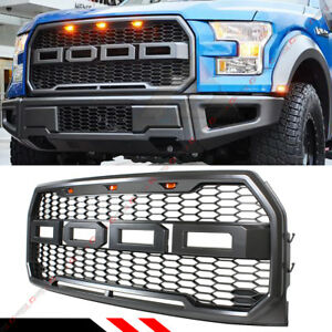For 2015 2017 Ford F150 Front Honeycomb Mesh Raptor Style Grill W Led Light