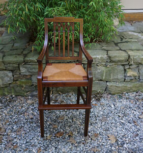 Antique American Federal Style Child S High Chair C1900 Inlaid Rush Seat Sturdy