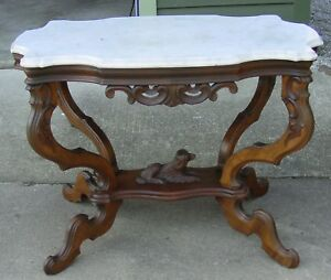 Antique Walnut Turtle Top Marble Top Parlor Lamp Table W Dog Stretcher 15464
