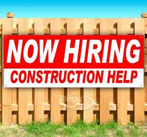 Now Hiring Construction Help Advertising Vinyl Banner Flag Sign Many Sizes Usa