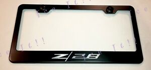 Camaro Z28 Chevrolet Stainless Steel Black License Plate Frame Rust Free Caps