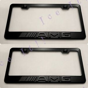 2x 3d Amg Mercedes Carbon Fiber Emblem Black Stainless Steel License Plate Frame