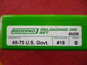 Redding 80209 45-70 3 Die Set Like New includes #18 Shell Holder EXCELLENT