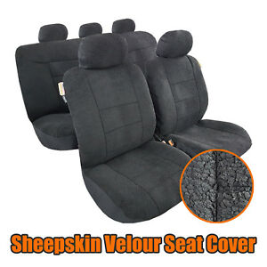 9pcs New Sheepskin Lambswool Plush Velour Car Seat Covers For Tacoma