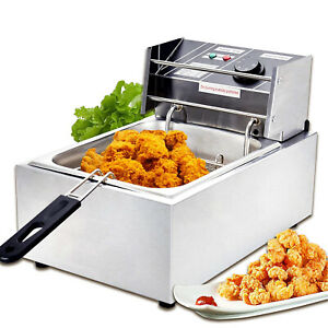 1800w 8l Commercial Electric Deep Fryer W basket Stainless Steel Restaurant