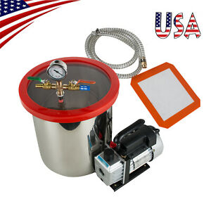 U 5gallon Stainless Steel Vacuum Degassing Chamber Silicone Kit 5cfm Pump Hose