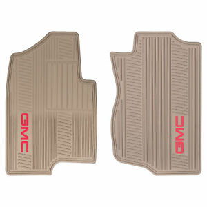 Oem New Front All Weather Rubber Floor Mats Cashmere W Red Gmc Logo 07 14 Yukon