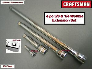 Craftsman Hand Tools 4pc 1 4 3 8 Ratchet Wrench Wobble Socket Extension Set