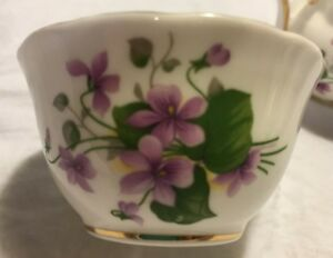 Grosvenor Bone China Miniature Creamer And Sugar Bowl Set Purple Violets