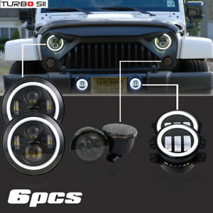 Jeep Wrangler Jk 7 Led Headlights Turn Signal Angel Eyes Fog Lamps Combo Kit
