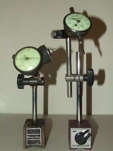 Pair Federal Dial Test Indicators W adjustable Magnetic Base Stands 0001 001