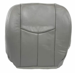 03 07 Chevy Silverado Lt Driver Side Bottom Leather Seat Cover Gray