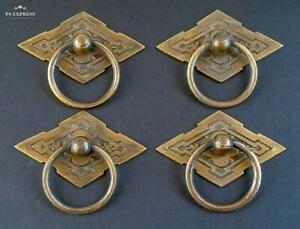 4 Eastlake Antique Style Brass Ornate Ring Pulls Handles 2 3 8 Wide H15