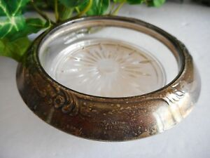 Franklin Whiting Co Coaster Sterling And Glass Decorated Ring