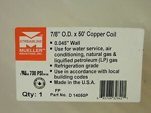 Mueller D14050p Copper Tubing Coil 50 Ft X 7 8 O d Refrigeration Qty 1 Usa