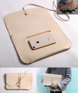 File Folder Pocket Cow Leather Messenger Bag Briefcase Pouch Handmade Beige Z805