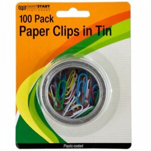 Wholesale Lot Of 24 Units Plastic Coated Paper Clips In Tin Assorted Colors New