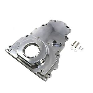 Engine Timing Chain Cover Chevy Gm 2 Piece Ls Polished Aluminum Cam Sensor Hole
