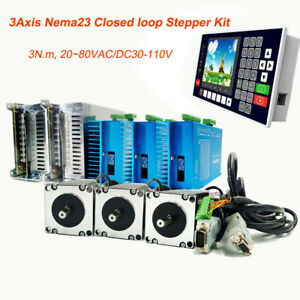 3axis 3nm Nema23 Stepper Motor Closed loop Hybrid Servo Driver Kit controller