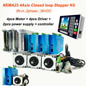 4axis Nema23 Closed loop Stepper Motor Drive Kit 2ph 3nm Power Supply Controller