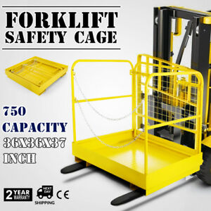 36 36 Forklift Work Platform Safety Cage Stability Built in Chains Yellow